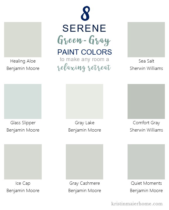 8 Serene Green Gray Paint Colors